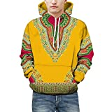 FRAUIT Liebhaber Herbst Winter Kleidung,T-Shirt,Tops,Bluse, Sweatshirt,Outwear afrikanischen 3D Print Langarm Dashiki Hoodies Top