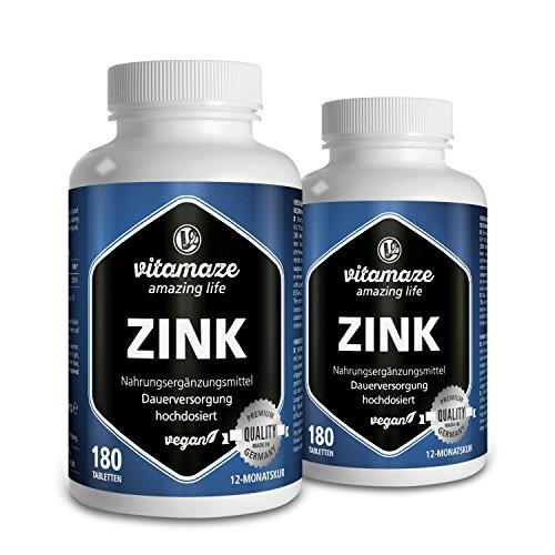 2 Dosen Zink hochdosiert Tabletten 25 mg vegan für 2x 12 Monate - Beste Bioverfügbarkeit - Qualitätsprodukt-Made-in-Germany ohne Magnesiumstearat, 30 Tage kostenlose Rücknahme!