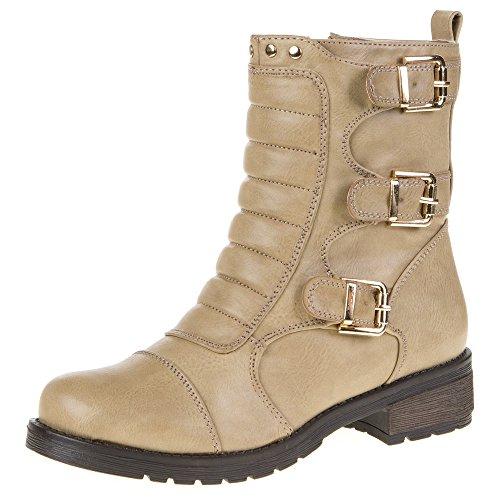 Damen Schuhe, R-15, STIEFELETTEN Braun Beige R-15