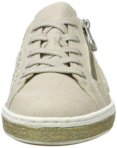 Rieker Damen M8504 Sneakers Weiß (offwhite/beige-lightgold / 80)