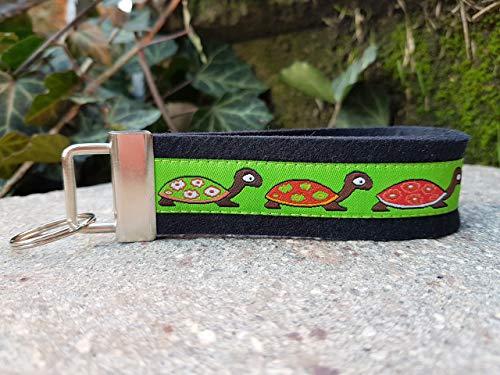 Schlüsselanhänger Schlüsselband Filz schwarz Webband Schildkröte grün braun Geschenk!