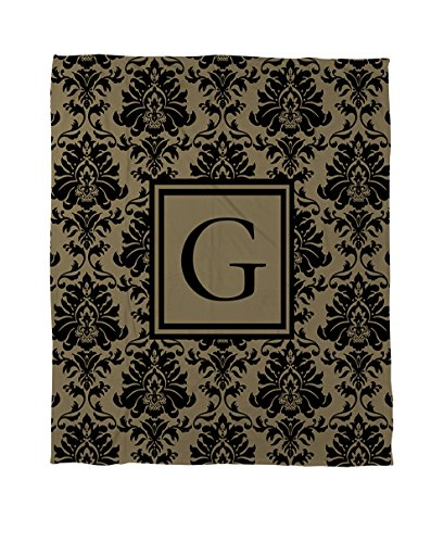 Twin Tröster Gold Set (Manuelle holzverarbeiter & Weavers Bettbezug-, Monogramm Buchstabe G, schwarz und gold Damast)