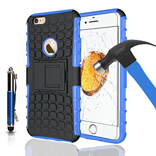 Apple iPhone 7Plus, Armor Case Tough Rugged Shock proof Armorbox Dual Layer Heavy Duty Carrying Hybrid Hard Slim Protective Case For iPhone 7 (with Kickstand) + Ret. Touch Pen + Tempered Glass-Purple Blue