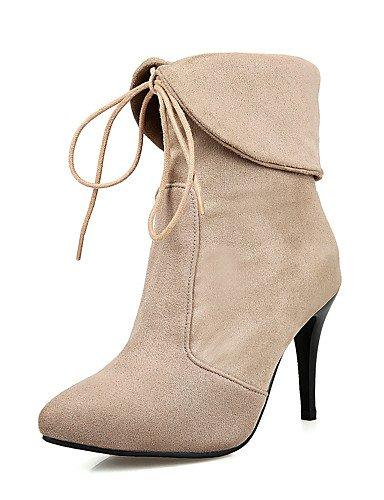 ShangYi Mode Frauen Schuhe Damen Schuhe Herbst/Winter Mode Schuhe / Stiefel Stiefel Kleid Stilettabsatz Schnürschuh, schwarz / rot / Mandel Wandern Mandel