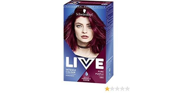 Schwarzkopf Live Intense Colour Pure Purple 086 Pack of 3 ...