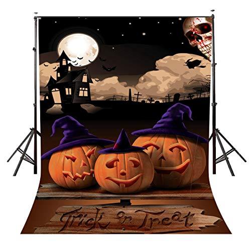 GzHQ 5x7ft Polyester Halloween Kids Party Theme Kulisse Studio Fotografie Mond Kürbis Foto Hintergrund BG861