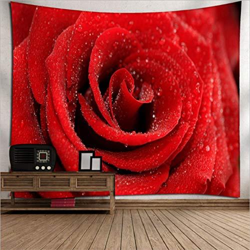 Rjjdd 3D Gedruckt Rose Blumenmuster Strandtuch Hochzeit Home Decor Wandbehang Tapisserie Tagesdecke Tischdecke Yoga Matten Zuhause Dekor(150X130Cm)
