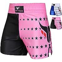 Mytra Fusion Boxing Shorts MMA Shorts Combat Shorts for Boxing and Fitness Training Shorts Boxing Muay Thai Short Star Series (Black Pink, X-Small)
