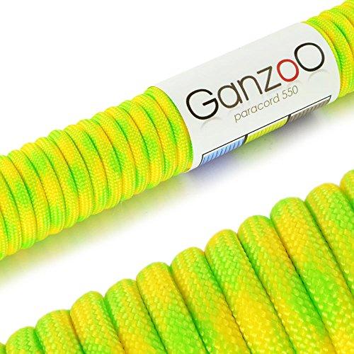 "Universell einsetzbares Survival-Seil aus reißfestem ""Parachute Cord"" / ""Paracord 550"" (Kernmantel-Seil aus Nylon), 550lbs, Gesamtlänge 31 Meter (100 ft) Farbe: Gelb / Neongrün - Marke Ganzoo"