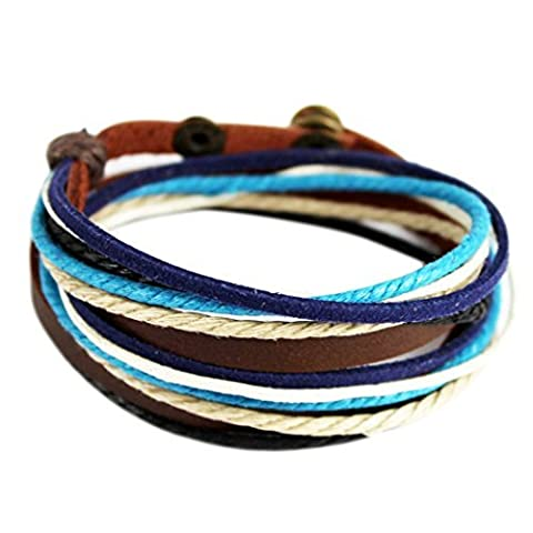 Wild Wind (TM) de Noël multi rangs Bleu tressé Fermoir Bouton pression réglable Wrap Bracelet