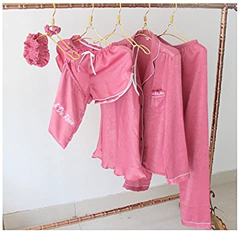 MH-RITA Pyjama Femme 7/pcs définit le tempérament imitation soie Pyjama robe lâche+Camisole+pantalon long+short pant et les cheveux rose foncé Vêtements femmes corde Taille unique