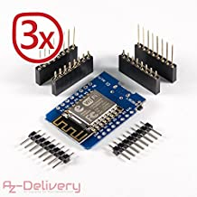 AZDelivery D1 Mini NodeMcu Lua ESP8266 ESP-12E WLAN WIFI Internet Module Entwicklungsboard für Arduino, 100% kompatibel mit WeMos D1 Mini (3x D1 Mini)