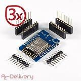 azdelivery D1mini nodemcu lua esp8266ESP 12E Wi-Fi Internet WIFI Module Scheda di sviluppo per Arduino, 100% compatibile con Wemos D1mini 3x D1 Mini immagine