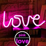LED Love Neon Light Sign - Night Lights Pink Signs Neon Lights Wall Decor Battery and USB Power Indoor Lighting Bedside and Table Lamps Home Decoration for Living Room, Bedroom, Party, Christmas Wedding Birthday Gift