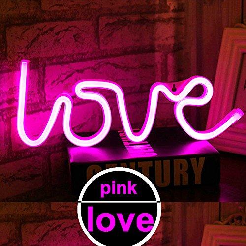 LED-Liebe-Neonlicht-Zeichen - Leuchtreklamen Rosa Liebe leuchten Zeichen Wandleuchten Batterie und USB betrieben Neonröhren Room Decor für Schlafzimmer, Wohnzimmer, Hochzeit, Weihnachtsgeschenk (Led-licht Led-zeichen)