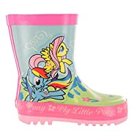 Girls MLP My Little Pony Green & Pink Floral Wellies Wellingtons UK Child Sizes 6-12