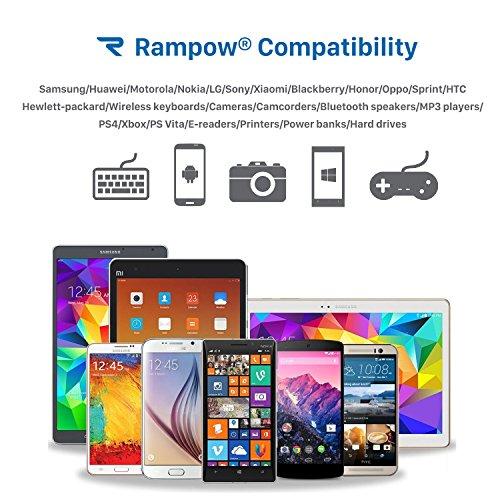 Câble Micro USB [2m/6.5ft] Rampow - GARANTIE A VIE - Charge/Synchro Rapide - Câble USB Nylon en Filet 2.4A pour Samsung,HTC,Nexus,LG,Motorola,Huawei,Kindle,Smartphone et Plus Encore - Gris Sidéral