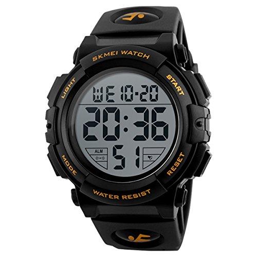 Skmei - Reloj digital deportivo militar para hombre, números grandes, impermeable, con alarma y temporizador, retroiluminación LED para hombres que corren
