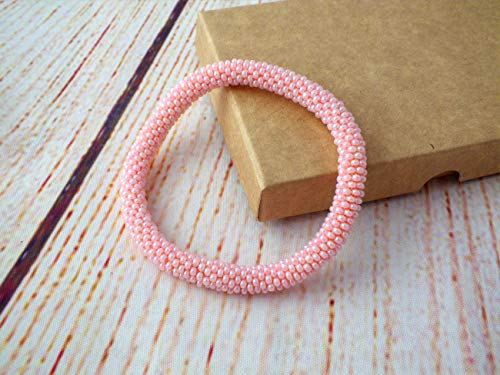 Gehäkelte Perlen Armband, Rosa Farbe glasperlen rolle armband
