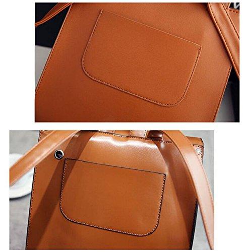 QPALZMWomen PU-Leder-Rucksack Vintage College School Rucksack-Tasche Einfache Mattierte Reisetasche Brown