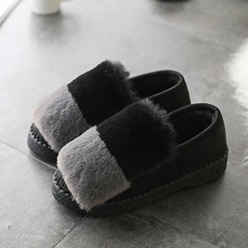 DogHaccd pantofole,Autunno Inverno pantofole di cotone spessa femmina, antiscivolo home soggiorno caldo con eleganti scarpe di cotone colore ortografico fagioli di soia Scarpa Nero Grigio2