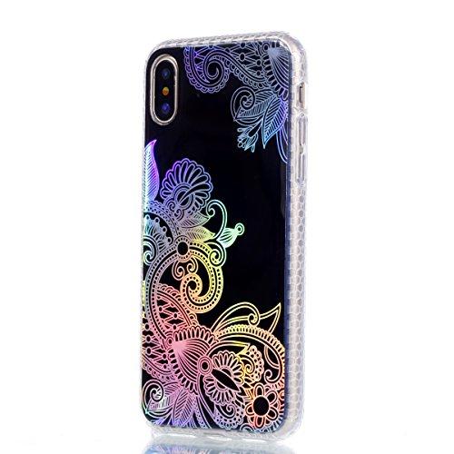 Cover Apple iPhone X, Voguecase Custodia Silicone Morbido Flessibile TPU Custodia Case Cover Protettivo Skin Caso in IMD design (fiore Skull 06) Con Stilo Penna Nero-Modello di Colore 02