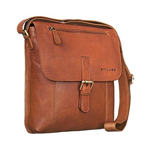 STILORD 'Matthias' Herren Umhängetasche Leder Vintage Messenger Tasche 10.1 Zoll Tablettasche klein Schultertasche echtes Rinds-Leder, Farbe:Cognac - braun -