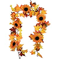 HZAMING 6 feet Artificial Maple Leaf Berries Sunflower Pumpkin Garland Hanging Vine Decoration Autumn Fall Wedding Party Thanksgiving Home Decor (Maple Leaf Pumpkin Garland)