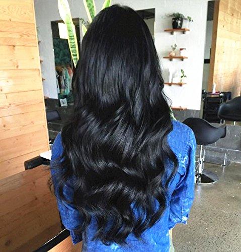 Laavoo 10 pollici*3 remy tessuto per capelli umani nero reale human hair extensions weft ondulati 300g