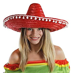 LADIES MEXICAN RED SOMBRERO + MOUSTACHE NOVELTY FANCY DRESS ACCESSORY HAT TASH HEN PARTY NOVELTY MEXICO HAT SET