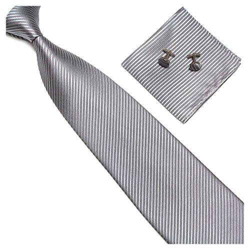Streifenkrawatte Set Streifen Krawatte Einstecktuch Knöpfe Manschetten Hochzeit (Silber / Grau)