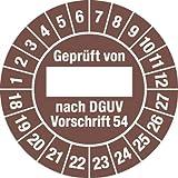 Prüfplakette Geprüft...DGUV Vorschrift 54, 2018 - 2027, Dokumentenfolie, Ø 3 cm, 100 St.