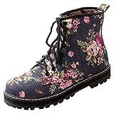Artfaerie Damen Flache Ankle Boots Denim Martin Stiefeletten Zum Schnüren mit Blumenmuster Bequem Canvas Schuhe(EU 41,Schwarz)