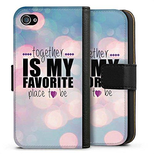 Apple iPhone X Silikon Hülle Case Schutzhülle Liebe Freundschaft Statement Sideflip Tasche schwarz
