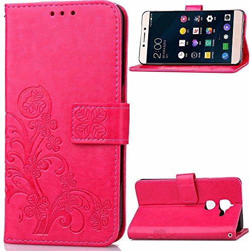 coque-leshi-2-etui-bookstyle-rose-rouge-cozy-hut-r-motif-trefle-chanceux-pure-couleur-housse-en-cuir