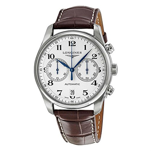 longines-mens-master-40mm-brown-leather-band-steel-case-automatic-silver-tone-dial-watch-l26294785