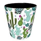 BANDRA Papierkörbe Retro Vintage PU Leder Runder Mülleimer Dekorativ Papierkorb für Büro Wohnzimmer Schlafzimmer Küche Kaktus