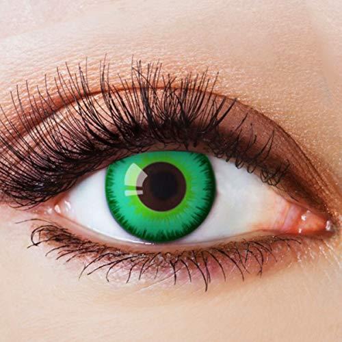Farbige Kontaktlinsen Grün Motivlinsen Ohne Stärke mit Motiv Grüne Linsen Halloween Karneval Fasching Cosplay Kostüm Magic Green Circle Joker Eye