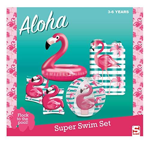 Sambro SAM-3503-3 - Set mit Schwimmring (ca. 50 cm), Wasserball (ca. 40 cm), Schwimmflügel und Luftmatratze (ca. 44,5 x 70 cm), Flamingo, 3 bis 6 Jahre, mit Sicherheitsventil, ideal für Pool