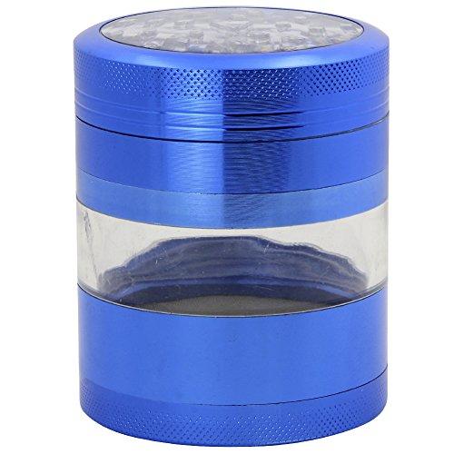 DCOU Grande alluminio Spice Herb Grinder - Impianto Grinder - Collettore di polline con coperchio magnetico e polline Catcher, 4 pezzi, 2,5 pollici (blu)