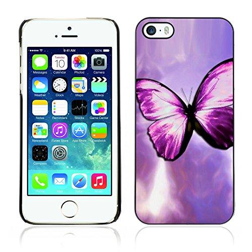 Graphic4You Blue Butterfly And Flowers Design Harte Hülle Case Tasche Schutzhülle für Apple iPhone 5 und 5S Design #6