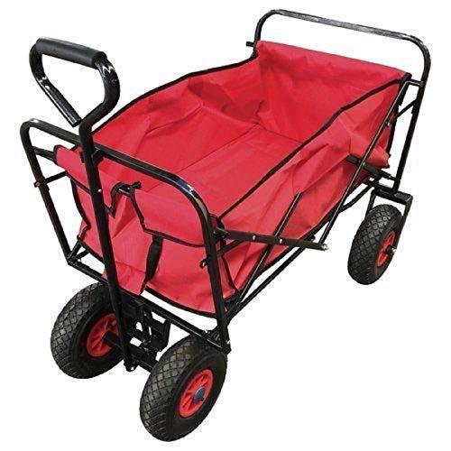 Bollerwagen Faltbar Rot | Tragkraft 120 kg | 80 Liter | 4 PU Räder Unplattbar | Platzsparend Faltbar | Gartenwagen Transportwagen Handwagen Strandwagen Kinderbuggy Ausflug Einkauf