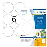 Herma 4478 Universal Etiketten rund, ablösbar (Ø 85 mm) weiß, 600 Aufkleber, 100 Blatt DIN A4 Papier matt, bedruckbar, selbstklebend, Movables