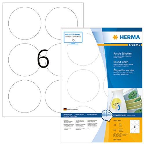 Herma 4478 Universal Etiketten rund, ablösbar (Ø 85 mm) weiß, 600 Klebeetiketten, 100 Blatt DIN A4 Papier matt, bedruckbar, selbstklebend, Movables