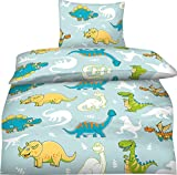 Aminata Kids - Bettwäsche Kinder 100x135 Dinosaurier Dino Jungen Mikrofaser-Kinderbettwäsche Kleinkinder Drache blau Babybettwäsche Kinderbett-Baby