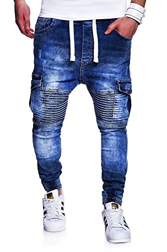 MT Styles Biker Jogging-Jeans pantalon homme RJ-2271 Bleu