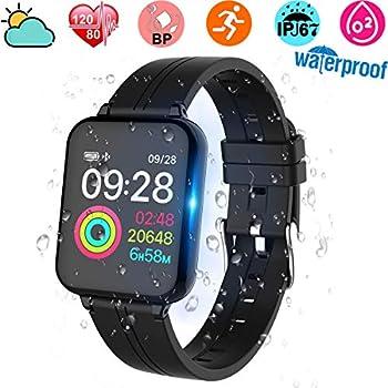 Smartwatch, Anding Reloj Inteligente Impermeable IP67 con Pulsómetro, Cronómetro, Monitor de sueño,Podómetro,Calendario, Pulsera Actividad para Android y ...