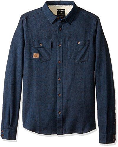 KAVU Herren Langley Button Down Shirt, Herren, Midnight, Large -