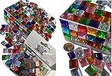 400 Stück 11mm selbstklebende glitzernde bunte Mosaik Steinchen Bunte Mischung Deko Strasssteine eckige Acrylsteine Opaleffekt Regenbogeneffekt Laser Optik Regenbogensteine transparent klar kristall basteln Gltzersteine Acryl Schmucksteine Schmucksteine Strass Steine zum Verzieren Dekorieren von CRYSTAL KING