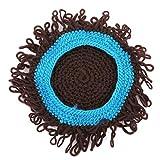 EJY Kinder Lässige Perücke Handmade Hat Welliges Haar Kopfschmuck Zubehör Turban Roll Modellierung Cap(Blau)